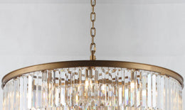 "Veccini Spiral Tiered/ Layered Crystal Fringe Chandelier 36"" - Italian Concept"