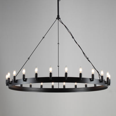 Metal Round Wheel Barrel Vintage Chandelier - Italian Concept