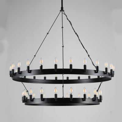 Wheel Barrel 2-Tier Vintage Round Chandelier - Italian Concept
