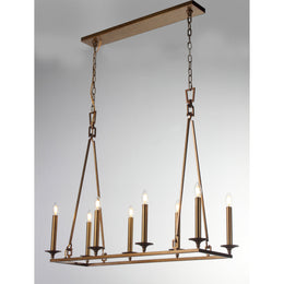 Wineyard Wheel Barrel Rectangular Linear Chandelier - Italian Concept