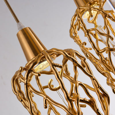 Organic Single Branching Brass Teardrop Pendant - Italian Concept