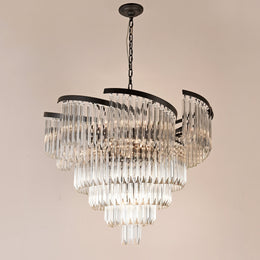 Twin Palms Round Crystal Chandelier - Italian Concept