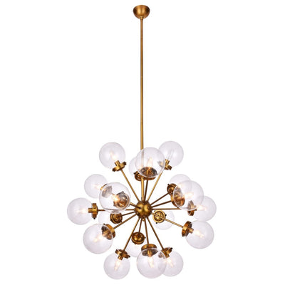 LANDON CHANDELIER | Clear Glass Globes with Brass Finished Metal - Italian Concept