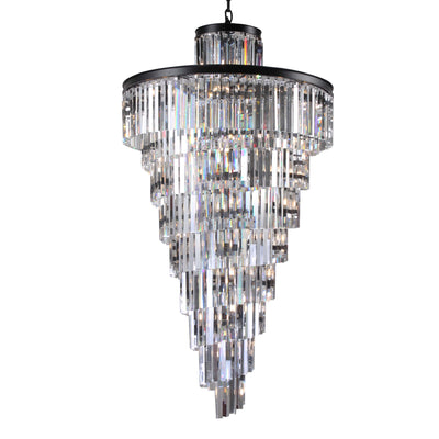"Apex Spiral Tiered/ Layered Crystal Fringe Chandelier 36"" - Italian Concept"