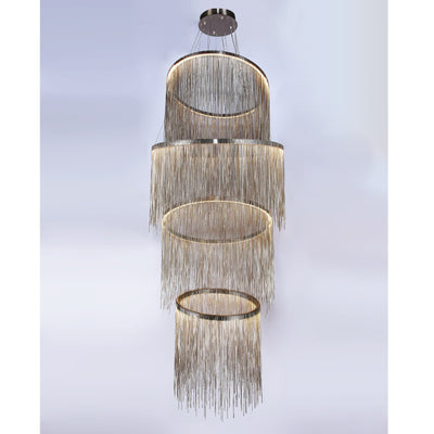 Villa Je Suis Round Chain Link LED Tiered/ Layered Chandelier - Italian Concept
