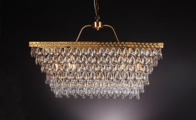 Teardrop Rectangular Tiered Crystal Chandelier - Italian Concept