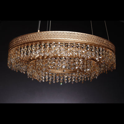 Louvre 2-Tier Round Crystal LED Chandelier - Italian Concept