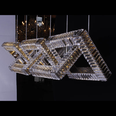 5-Ring Rectangular Linear Crystal Chandelier - Italian Concept