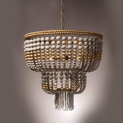 Seville Weathered Wood Beaded Chandelier - Italian Concept