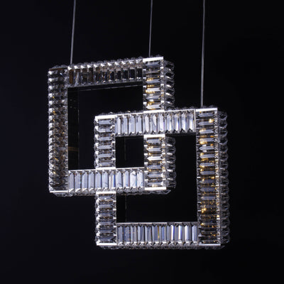 2-Ring Square Crystal Pendant LED Light - Italian Concept