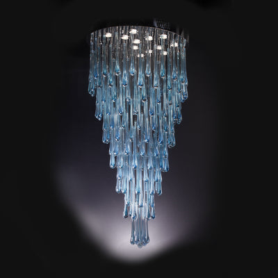 Blue Rainfall Murano Glass Chandelier - Italian Concept