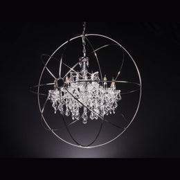 MN Rustic Iron Orb Crystal Chandelier - Italian Concept