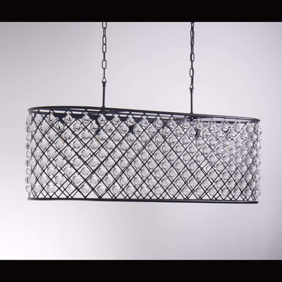 Teardrop Grid Rectangular 10-Light Crystal Chandelier - Italian Concept