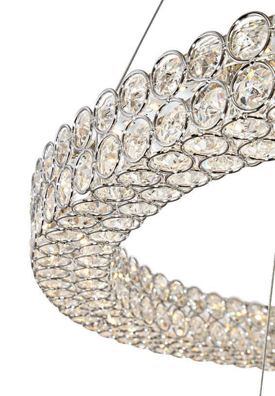 "Perriello 27 1/2""W Tiered LED Crystal Ring Pendant - Italian Concept"