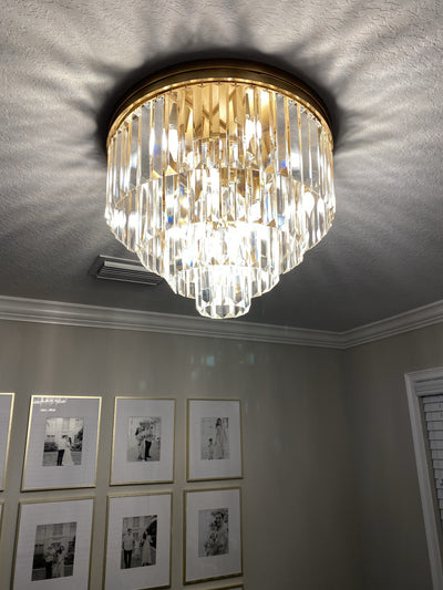 Dual Option Flush-mount / Hanging 4-Tier Apex Odeon Crystal Fringe Chandelier - Italian Concept