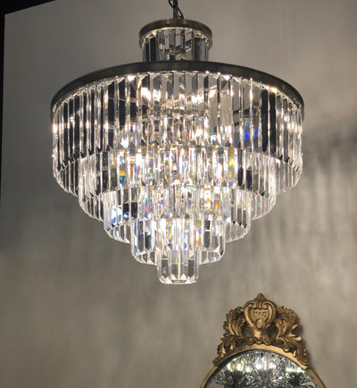 "6 Tier Emily Crystal Fringe 32"" Chandelier - Italian Concept"