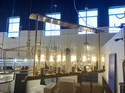 Pieli Industrial Linear Glass Shade Chandelier - Italian Concept