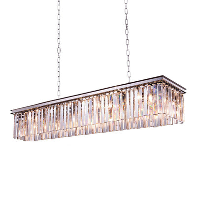 Apex Single-Tier  Odeon Rectangular Fringe Crystal Chandelier - Italian Concept