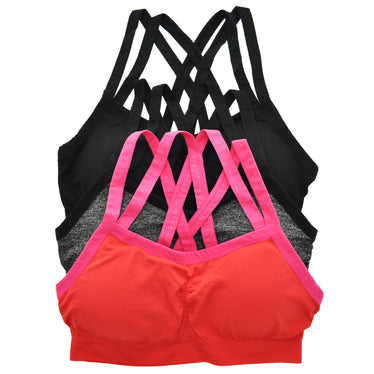 8414b2ad6b7cc Wire-Free Seamless Sports Bra with Cross-Back (3-Pack)