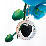 Signature mantra lava bead necklace with blue orchid - Latest Love Affair
