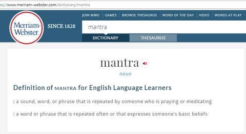 Definition of mantra from Merriam-Webster