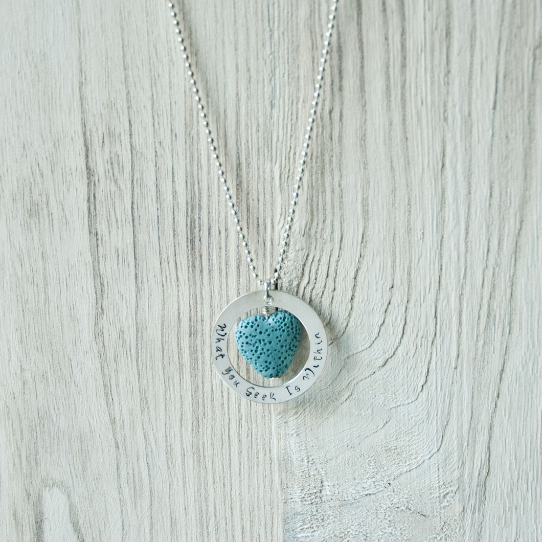 Hand Stamped Aqua Lava Bead Diffuser Necklace (Sterling Silver)