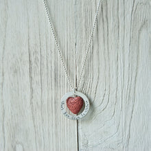 Hand Stamped Red Lava Bead Diffuser Necklace (Sterling Silver)