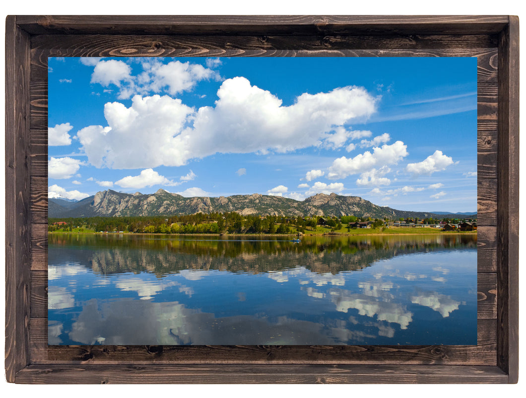 Paddling Through Clouds of Glass (Modern Rustic Floating Art Print with Hidden Storage for Jewelry)