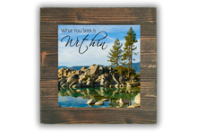 Metal Print with Wooden Mount and Signature Mantra (Sand Harbor Trees in Straight Espresso)