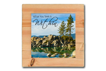 Metal Print with Wooden Mount and Signature Mantra (Sand Harbor Trees in Honey Maple)