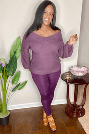 lee monet Balloon Sleeve Wide Double V-Neck Color Block Sweater Set- Eggplant