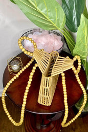 lee monet Boho Babe Pearl Handle Bamboo Bag