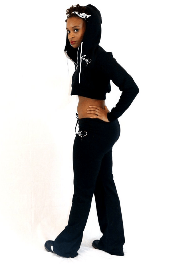 lee monet Bottoms Logo Black Low Rider Sweat Pants