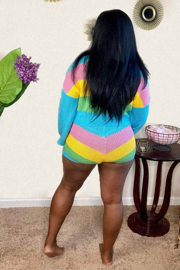 lee monet Candy Land Multi Color Knit Short Set
