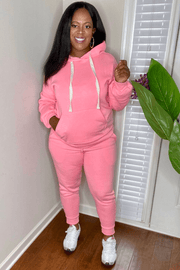 lee monet Cellphone Pocket Hoodie Jogger Set- Bright Pink