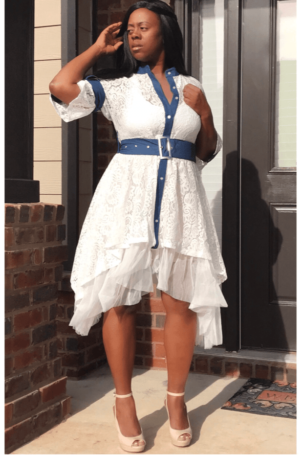 lee monet Delilah Denim & Lace Dress- Final Sale