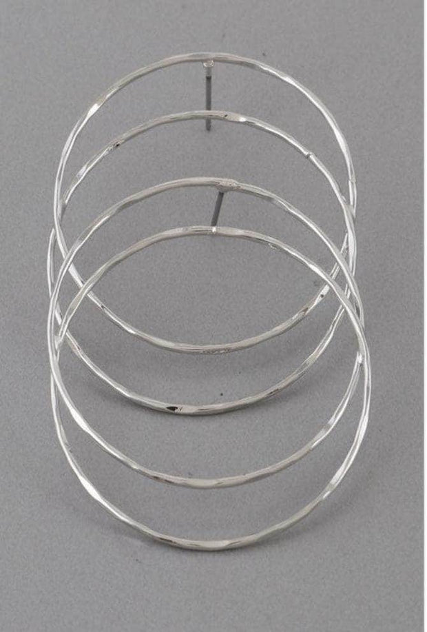 lee monet Double Hoop Earrings- Silver