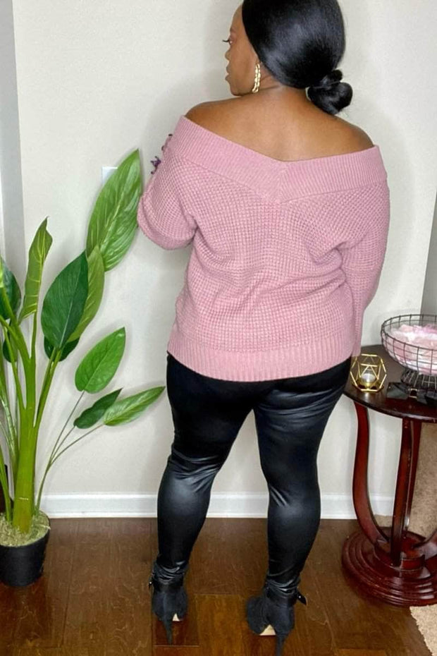 lee monet Double Take Wide V-Neck Balloon Sleeve Waffle Sweater- Lt Rose