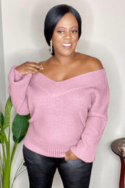 lee monet Double Take Wide V-Neck Waffle Sweater- Lt Rose