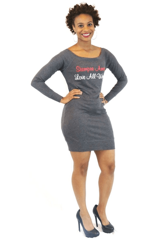 lee monet Dresses Siempre Amor Grey Graphic Tunic
