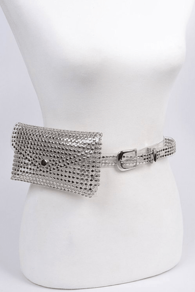 lee monet Essentials Studded Translucent Belt w/ Pouch- Clear/Silver