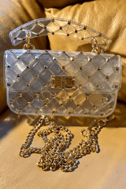 lee monet Glossy Studded Crossbody Clutch