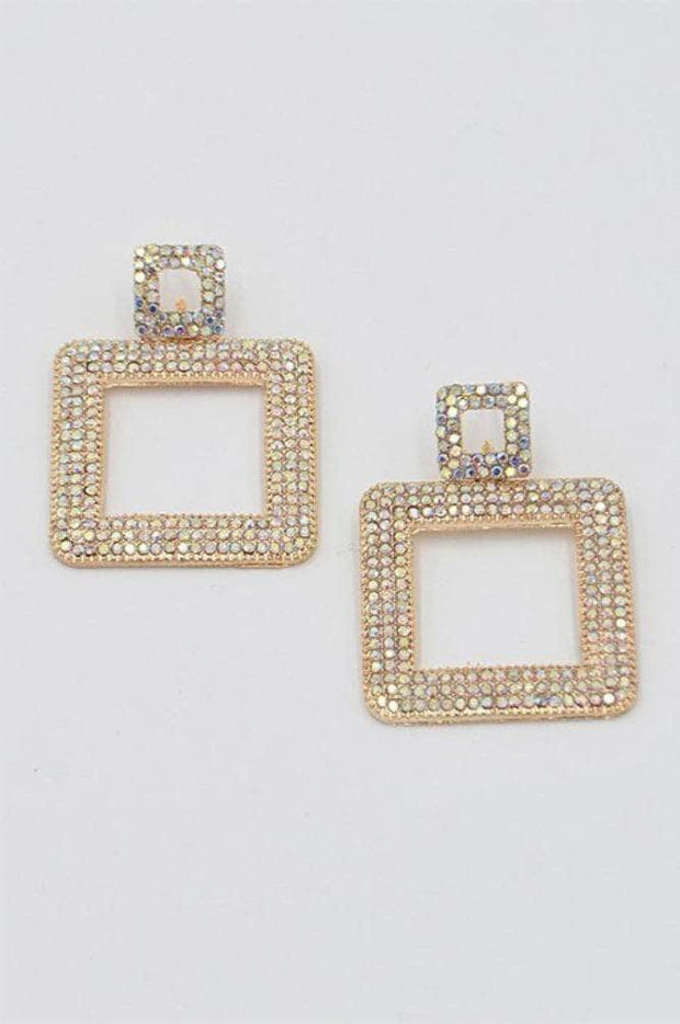 lee monet Gold Open Rectangle Rhinestone Earrings