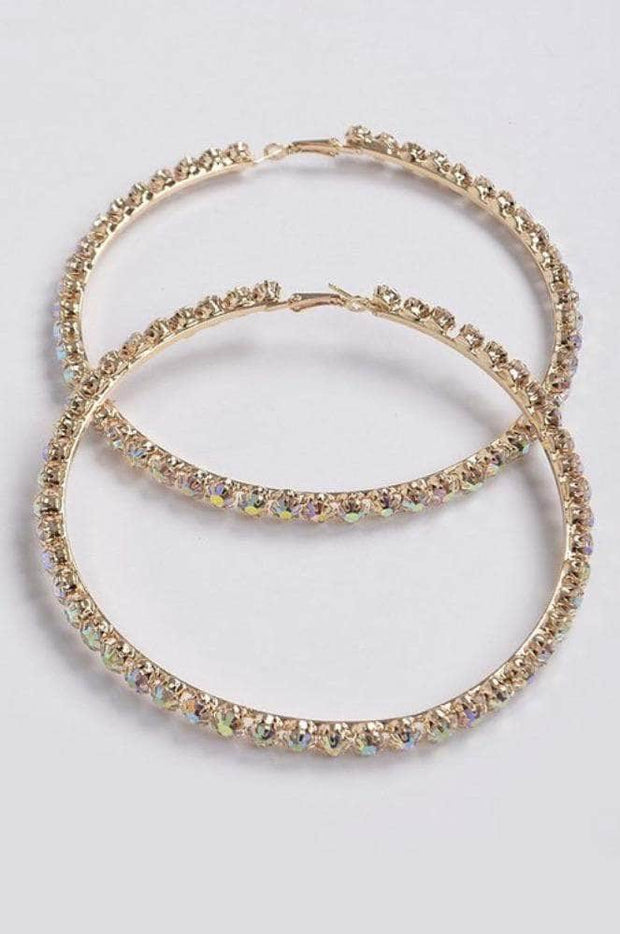 lee monet Gold Rhinestone Hoops