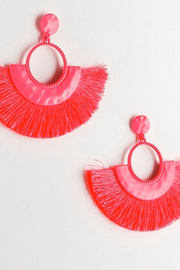 lee monet Hammered Neon Metal Tassel Earrings (Pink)
