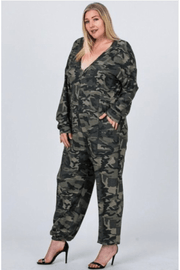 lee monet Jumpin Jane Army Print Jumpsuit (Plus)