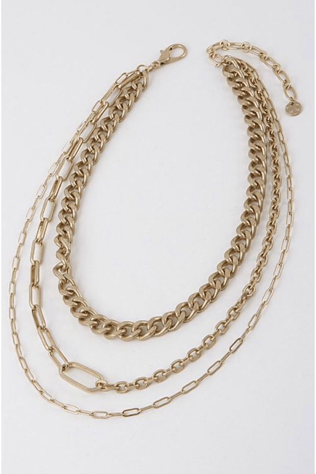 "lee monet ""Let's Link Up"" Chainlink Necklace- Gold"
