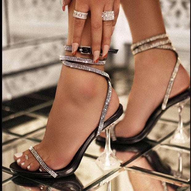lee monet Octavia Strappy Rhinestone Studded Heel- Black