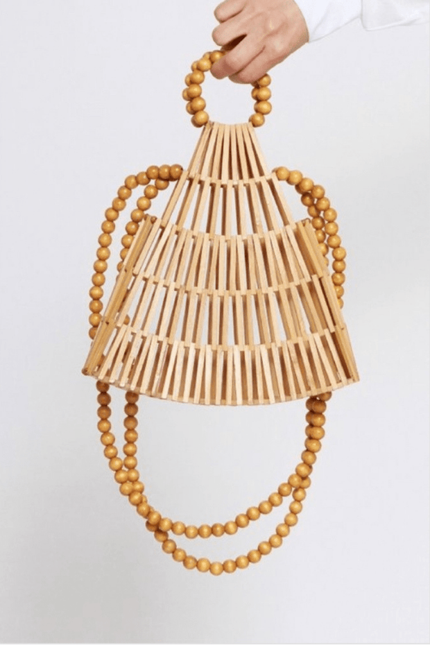lee monet Pearl Handle Bamboo Bag