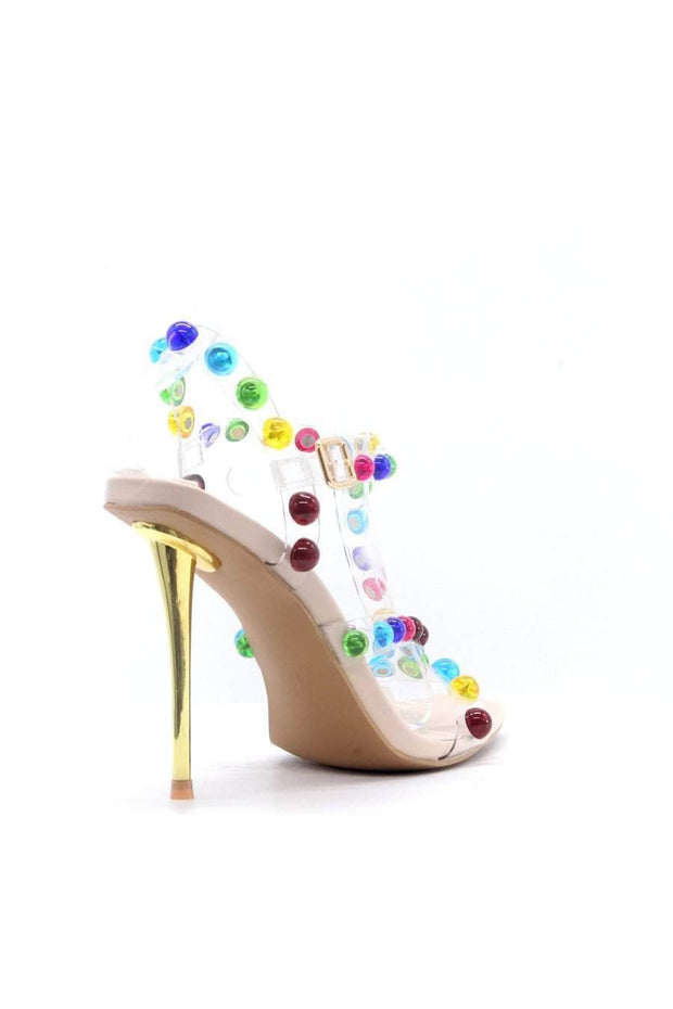 lee monet Peony Multi Color Embellished Heel- Nude